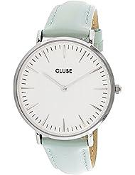 CLUSE La Bohème Silver White Analog Display Quartz Watch, Pastel Mint Leather Band, Round 38mm Case