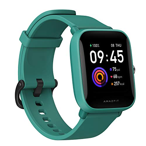 Amazfit Bip U Health Fitness Smartwatch with SpO2 Measurement, 9-Day Battery Life, Breathing, Heart Rate, Stress, Sleep Monitoring, Music Control, Water Resistant, 60 Sports Modes, HD Display, Green