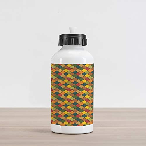(Lunarable Patchwork Aluminum Water Bottle, Pastel Tones of Diamond Shapes Fastened Together in Harmony as Retro Ornament, Aluminum Insulated Spill-Proof Travel Sports Water Bottle,)