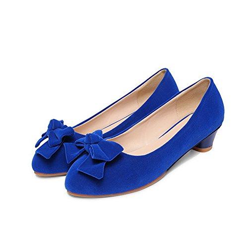 AllhqFashion Mujer Sin cordones Mini Tacón Gamuza(Imitado) Sólido De salón Azul