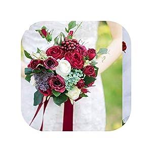 meiguiyuan Romantic Bridal Bouquets Burgundy Rose Berry Handmade Artificial Flower Bouquet Wedding Bridesmaida Bouquet 57