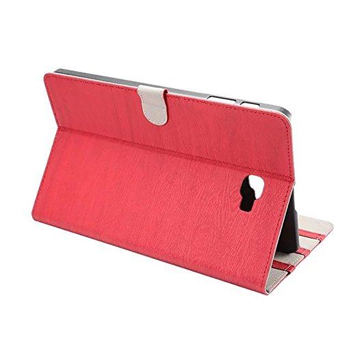 SRY-Funda móvil Samsung Cubierta de la caja del soporte del cuero de la PU de estilo retro de madera con niveles adaptados para Samsung Galaxy Tab A 10.1 (2016) T580 ( Color : Black ) Red