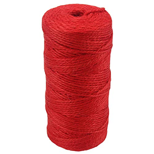 3 Ply Hemp (McFanBe 328 Feet Natural Jute Rope Twine 2mm Colored String Cord for DIY Arts Crafts Gardening Bundling Gifts Decoration (Red-1pcs))