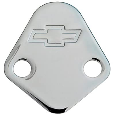 Proform 141-211 Chrome Fuel Pump Block-Off Plate with Embossed Chevy Bowtie Logo for Big Block Chevy: Automotive
