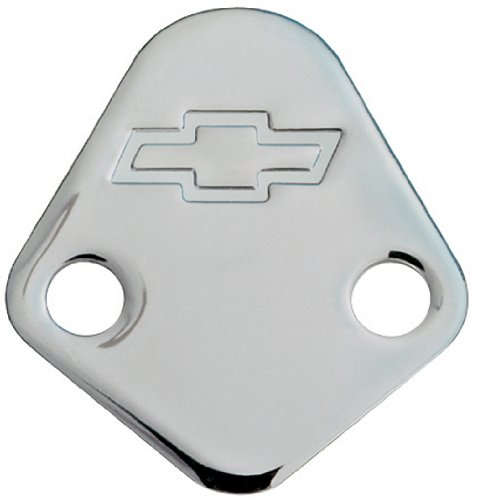 Proform 141-211 Chrome Fuel Pump Block-Off Plate with Embossed Chevy Bowtie Logo for Big Block Chevy