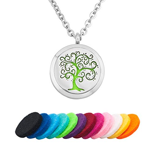 CLY Jewelry Aromatherapy Essential Oil Diffuser Necklace Metal Locket Pendant Necklace Tree of Life Fallen Leaves Seed Flowers with Refill Pads Ideal Gift for Women Girl Mom Daughter Sister Grandma