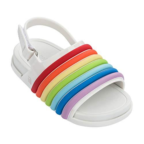 89735a8eedc0 Mini Melissa Baby Girl s Mini Beach Slide Sandal Rainbow (Toddler Little  Kid) White