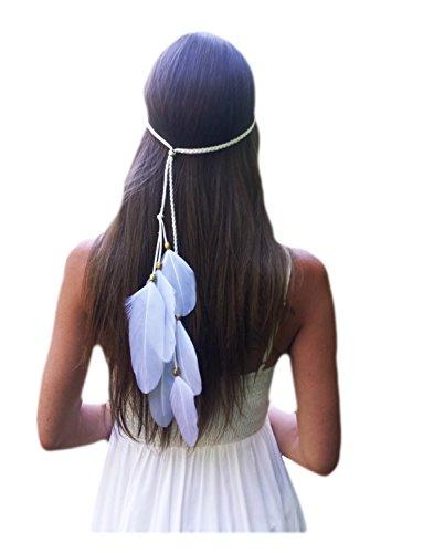 inator Headband Feather Headpiece Bridal Wedding Headwear (Type C) ()