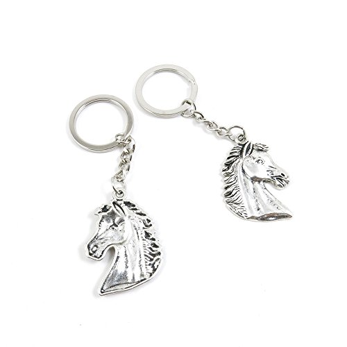 1 Pieces Keyring Key Ring Q1YO2 Horse Head Keychain Automotive Car Door Key Tags Findings Charms Chains ()