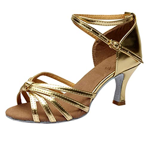 Londony  Women's Satin Latin Dance Shoes Ballroom Performance Shoes Model Ballroom Latin Salsa Dance Shoes Gold ()