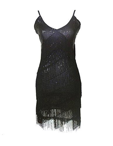 Negro Tassle Moderno Vestido Vestido Danza Mujer Concurso Danza Discoteca Latín qXwpaXTzx