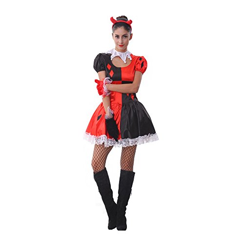 Women's Halloween Circus Clown Red Performance Costumes (Ladies Circus Costumes)