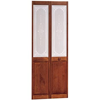 Pinecroft 830726 Burgundy Half Glass Interior Bifold Wood Door 30 X 80