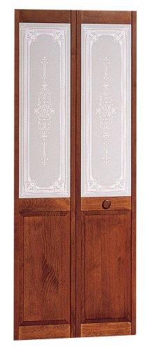 Pinecroft 830730 Burgundy Half Glass Interior Bifold Wood Door, 36u0026quot; X  80u0026quot;,