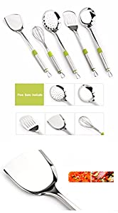upc 884466516288 product image for thitiwat Steel kitchen tools set,Kitchen tool set | Stainless Steel Utensil | Best Kitchen Gadget set with Silicone Handles|Kitchen Utensil with Smooth and Shiny Surface|Cooking and Accessories(Set5) | barcodespider.com