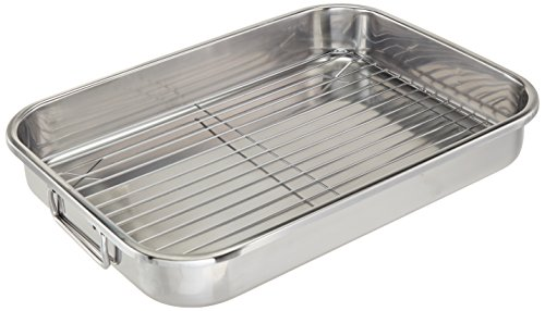 ExcelSteel Multiuse with Rack and Foldable Handles for Easy Storage Stainless Steel Roasting Pan, 16.5″
