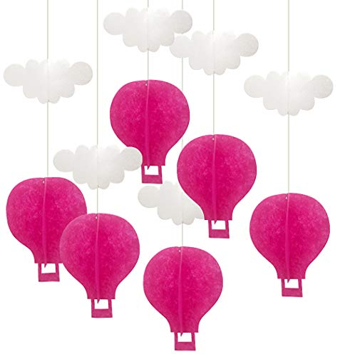 IN-JOOYAA Hot Air Balloon Decorations 6 Pcs Pink Color 3D Felt Ceiling Hanging Garland for Nursery Classroom Baby Shower Birthday Party Decor (6.2 x 8 in, Pink)