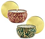 LA JOLIE MUSE Scented Candles Set 2 Pumpkin Cinnamon& Cedarwood Fir, Natural Soy Wax, Fall Winter Gift Collection