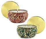 LA JOLIE MUSE Scented Candles Set 2 Pumpkin Cinnamon& Cedarwood Fir, Natural Soy Wax, Fall Winter Gift Collection