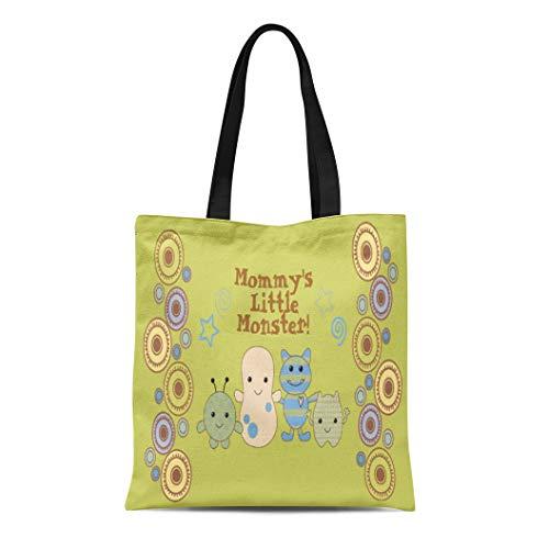 (Ablitt Tote Bag Shoulder Bags Canvas Cocalo Little Monsters for Nursery Peek Boo Baby Peeking Grocery bag Women's Handle Shoulder Tote Shopper Handbag )