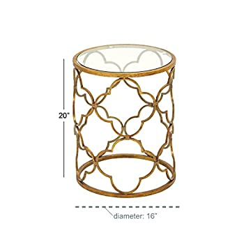 """Deco 79 67056 Metal Glass Accent Table, 16"""" x 20"""", Gold"""