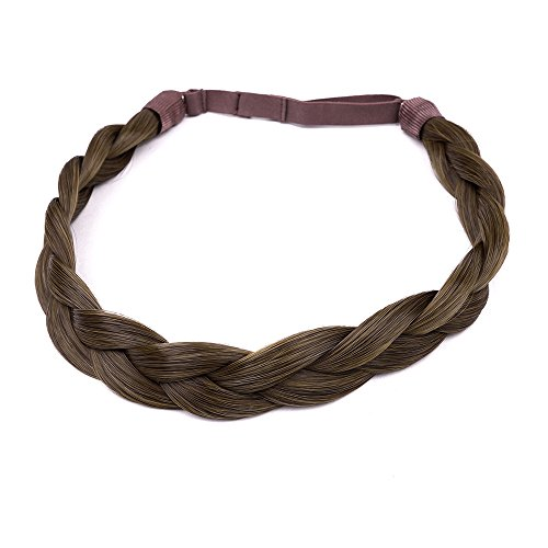 Ty.Hermenlisa Chunky Synthetic Hair Braided Headband Classic Wide Braids Elastic Stretch Hairpiece Women Beauty accessory, 55g, Mocha Brown