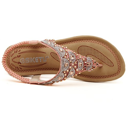 Hattie Women's Bohemian Beaded Sandals Summer Beach Diamond Flip Flops Pink tSF9hc