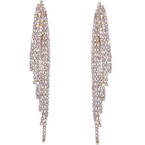 Humble Chic Simulated Diamond Earrings - Darling Waterfall Tassel CZ Statement Chandelier Studs, Gold-Tone Angel Wing