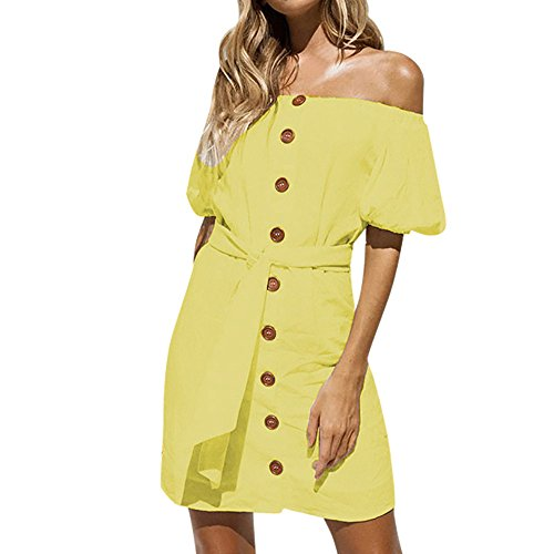 Tunic Net Beaded (SSYUNO Women Summer Casual Off Shoulder Backless Dress Loose Club Bodycon Midi Button Party Dress with Belt)