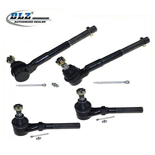 DLZ 4 Pcs Front Suspension Kit-2 Inner 2 Outer Tie Rod End Compatible with RWD 1997-2002 Ford Expedition 1997-2003 Ford F150 1997-1999 Ford F250 2004 Ford F150 Heritage (Two Rod Tie Ends)