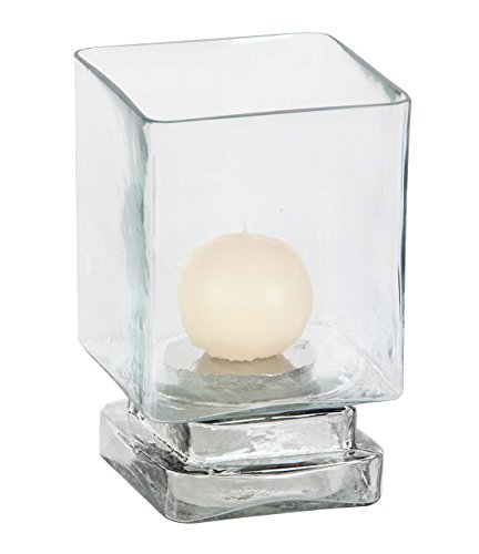 Deco 79 24685 Cube-Shaped Glass Hurricane Candle Holder, 8