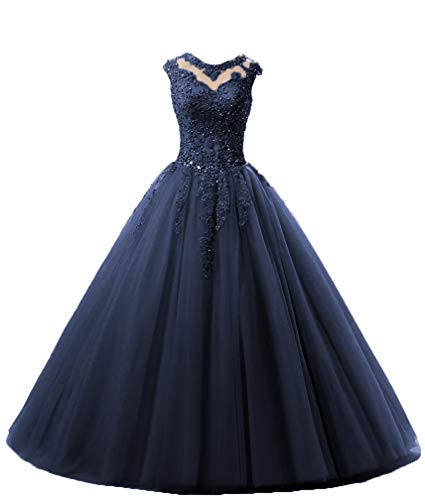 HEIMO Lace Appliques Ball Gown Evening Prom Dress Beading Sequined Quinceanera Dresses Long 2018 H152 22W Navy