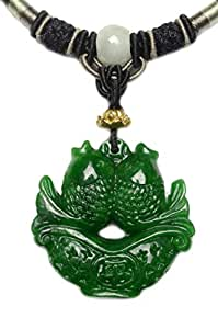 Fortune Twin Fish Carved Green Jade Amulet Necklace - Fortune Jade Jewelry