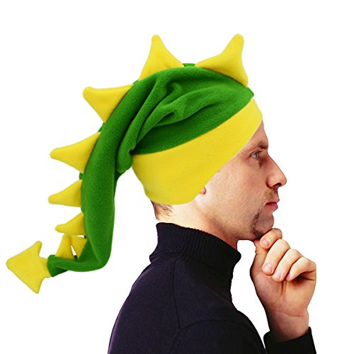 Funkeet Crazy Long Plush Spikes Dragon Stegosaurus Tail Hat Funny Party Carnival Accessory Costume Cap (for Adult, Green) - Stegosaurus Costume
