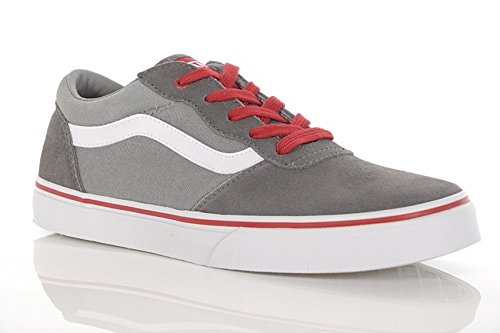 Vans Y MILTON  (SUEDE CANVAS) - Caña baja de cuero infantil Grey/White/Red