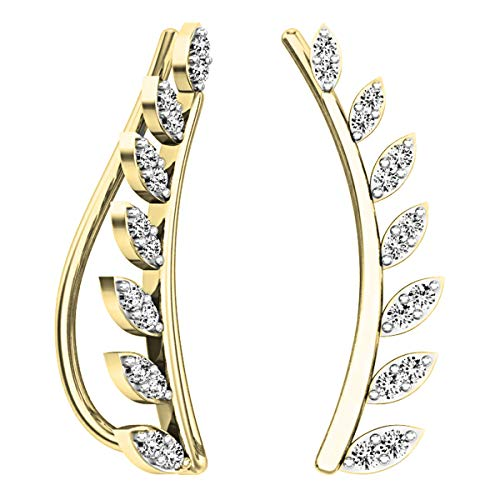Dazzlingrock Collection 0.25 Carat (ctw) 10K Round Cut White Diamond Ladies Leaf Shaped Climber Earrings, Yellow Gold