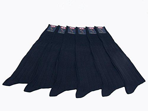 6 paia calze lunghe costa18/2 in 100%cotone filo di scozia col. blu Nazario Casto Calze snc
