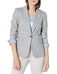 Women's One Button Flap Pocket Plaid Jacket