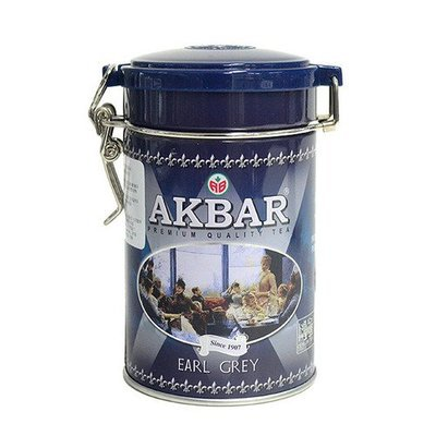 Akbar Premium Quality Earl Grey Tea, 100g/3.52oz, Gourmet Loose Leaf Round Tin