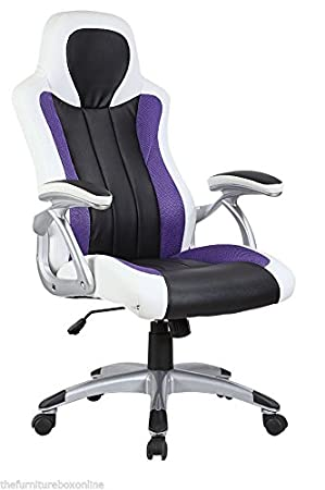 new luxury leather sports racing office desk swivel gaming computer chair white purple black