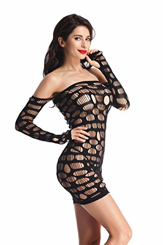 3f7e5d03c0f BeLuring Womens Shoulder Bodycon Lingerie. Review - BeLuring Womens Off  Shoulder Cutout Mesh Tube Bodycon Mini Dress Lingerie