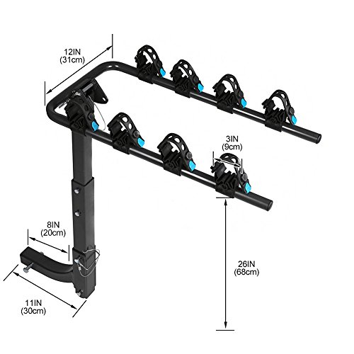 IKURAM 4-Bike Hitch Mount Bicycle Rack Foldable Fit 2 Inch Hitch Receiver by IKURAM (Image #1)