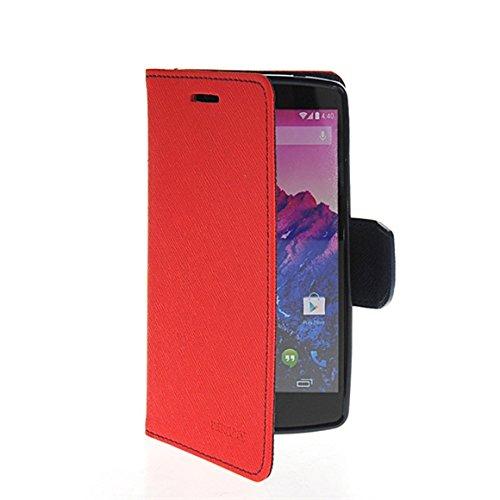 LG Nexus 5 Fundas,COOLKE [menta] Dos Colores Funda Carcasa Cuero Tapa Case Cover Para Google LG Nexus 5 Rojo