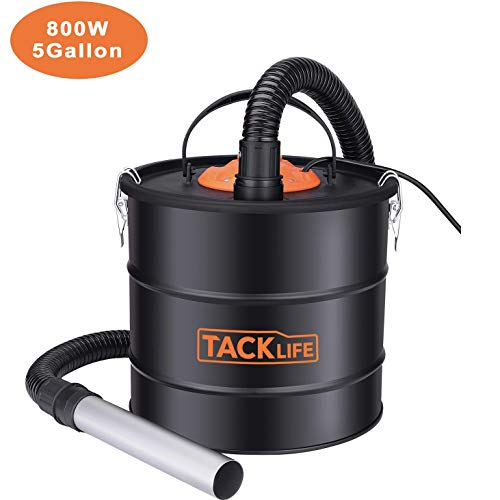 Dual Filtration System Ash Vacuum Cleaner 800W VAC Canister 5 Gallon Capacity Debris/Dust/Ash Collector, Suitable for Fire, Log Burners, Stoves-PVC03A (Cleaners Fireplace Vacuum)