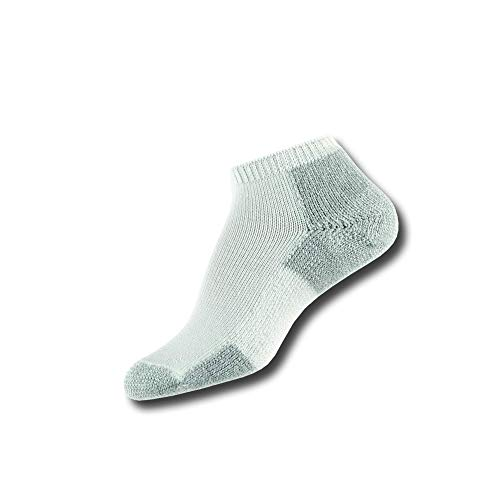 Thorlos Men's JMM Running Thick Padded Low Cut Sock, White Platinum, Medium