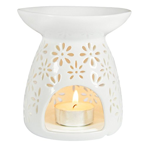Ivenf Ceramic Tea Light Holder, Aromatherapy Essential Oil Burner, Great Decoration for Living Room, Balcony, Patio, Porch and Garden, Vase Shape by Ivenf
