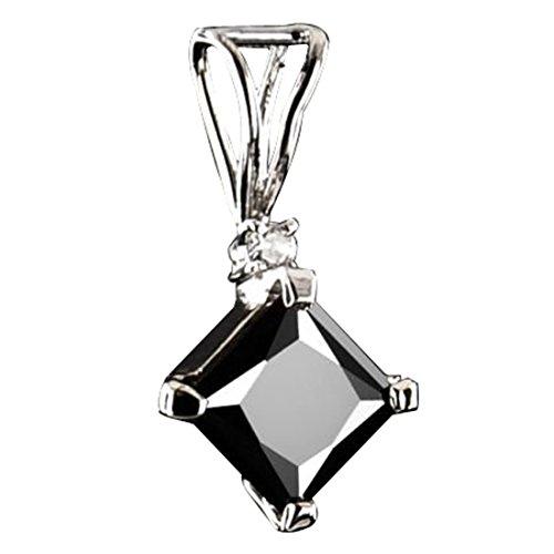 skyjewels 3 Ct Princess Cut Black Diamond Pendant with 0.10 ct White Diamond.AAA.Certified (0.1 Ct Princess Diamond)