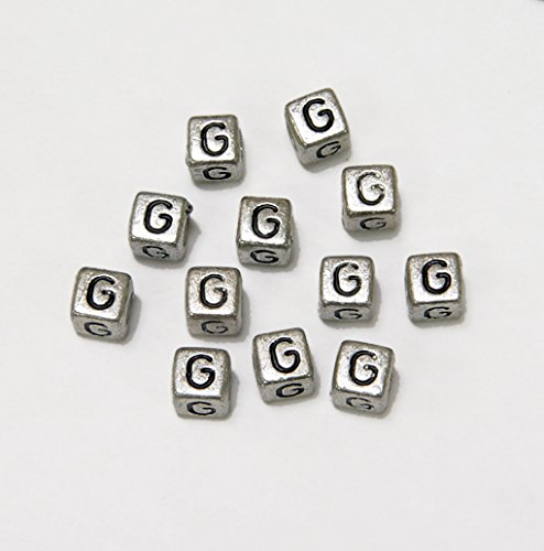JOLLY STORE Crafts 6mm Silver Metallic Alphabet Beads Black Letter