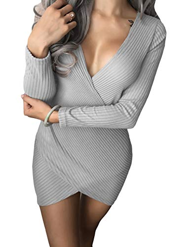 Coolred-femmes Haut Bas Croix Sexy Mince V-cou À Manches Longues Pull Gris Mini Robe