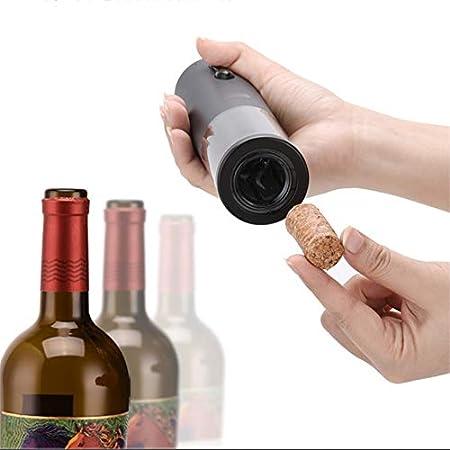 LVJUNQ Sacacorchos de Vino eléctrico de Acero Inoxidable Recargable USB con luz indicadora de Potencia Exquisita, protección del Medio Ambiente con Ahorro de energía, Uso en Familia, Negro